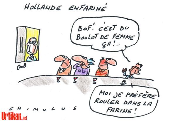Hollande enfariné par une jeune femme