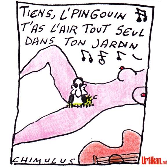 Carla Bruni ne parle pas de François Hollande dans sa chansons… la preuve - Dessin de Chimulus