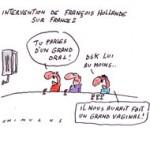"""François Hollande est """"passé"""" à la télévision... Dessin de Chimulus"""