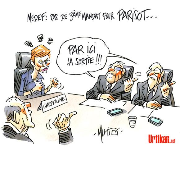 Medef: échec et mat pour Laurence Parisot - Dessin de Mutio