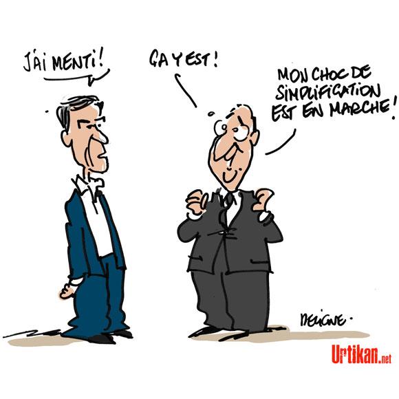 L'ancien ministre Cahuzac avoue tout et est mis en examen pour fraude fiscale - Dessin de Deligne