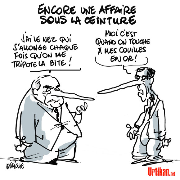 Jérôme Cahuzac comparé a DSK par la presse - Dessin de Deligne