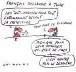 Les anti mariage gay attendaient Hollande à Tulle - Dessin de Chimulus