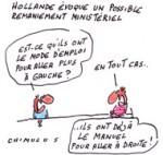 François Hollande : aucun ministre «n'est protégé» en cas de remaniement - Dessin de Chimulus