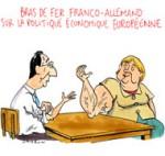 Hollande et Merkel doivent travailler main dans la main - Dessin de Cambon