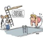 Marine Le Pen victime d'une chute dans sa piscine... vide - Dessin de Deligne