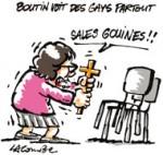 """Christine Boutin : """"On est envahis de gays"""" - Dessin de Lacombe"""