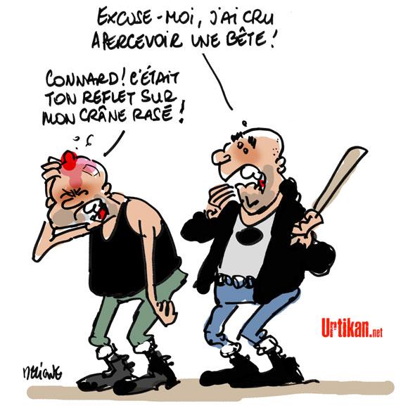 """Les militants d'extrême gauche voulaient """"chasser du skins"""", d'après les Jeunesses nationalistes révolutionnaires - Dessin de Deligne"""