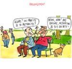 Le rapport Moreau prône d'allonger la durée de cotisation retraite - Dessin de Cambon