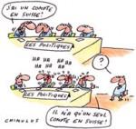 Le gouvernement dit ne pas savoir qui a un compte en Suisse - Dessin de Chimulus