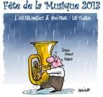 La fête de la musique s'annonce sous la pluie... - Dessin de Deligne