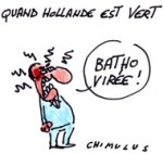 Batho quitte Hollande: le gouvernement prend l'eau - Dessin de Chimulus