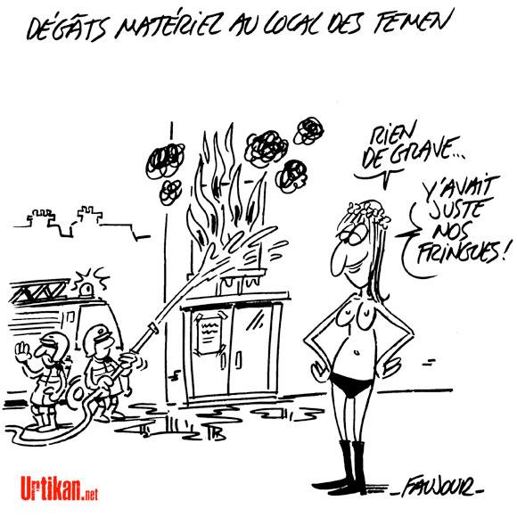 Les locaux des Femen à Paris ont brûlé - Dessin de Faujour