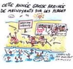 Humour de vacances : la plage - Dessin de Chimulus