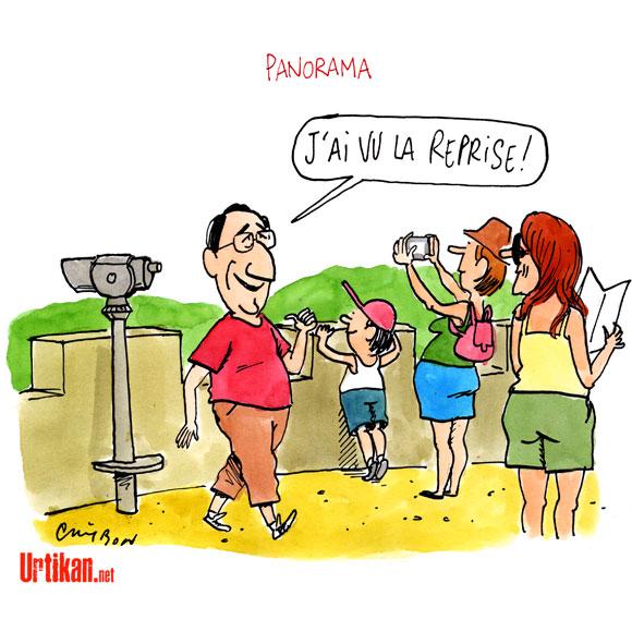 François Hollande: une seule semaine de vacances en été - Dessin de Cambon