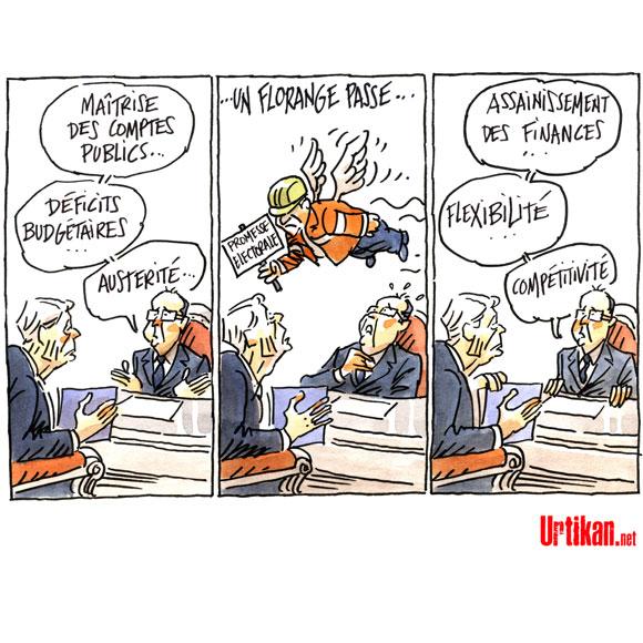 François Hollande de retour à Florange - Dessin du Jour de Mutio