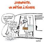 Serge le lama prend le tramway à Bordeaux - Dessin de Soulcié