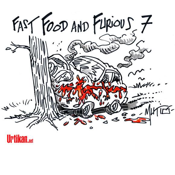 Paul Walker, le héros de Fast and Furious, se tue en voiture - Dessin de Mutio