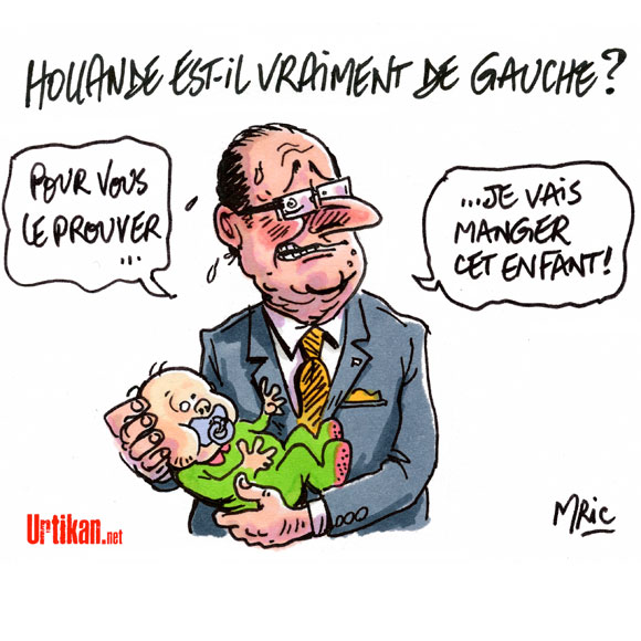 """François Hollande """"incognito"""" avec un bébé - Dessin de Mric"""