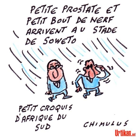 Hollande et Sarkozy s'affichent ensemble en Afrique du Sud - Dessin de Chimulus