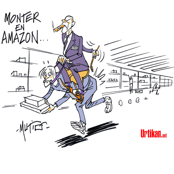 Des travailleurs au pas de course chez Amazon - Dessin de Mutio