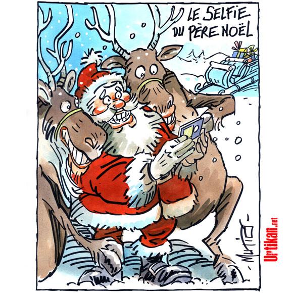 Père Noël 2.0, le selfie - Dessin de Mutio