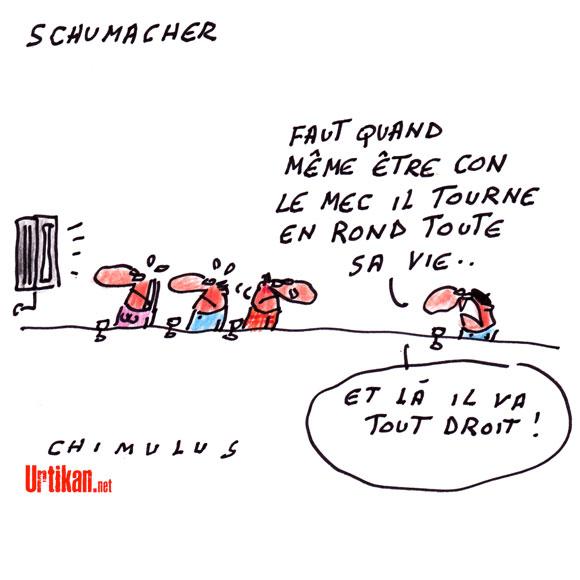 Accident de ski : Michael Schumacher «dans un état critique» - Dessin de Chimulus