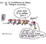 Conférence de presse de Hollande : plus c'est long… - Dessin de Chimulus