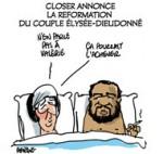 Hollande, Dieudonné : Scoop et info poubelle - Dessin de Deligne