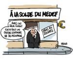 Un pacte à 30 Mds€ proposé au Medef - Dessin de Deligne