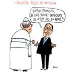 Quand Hollande rencontre le pape François - Dessin de Cambon
