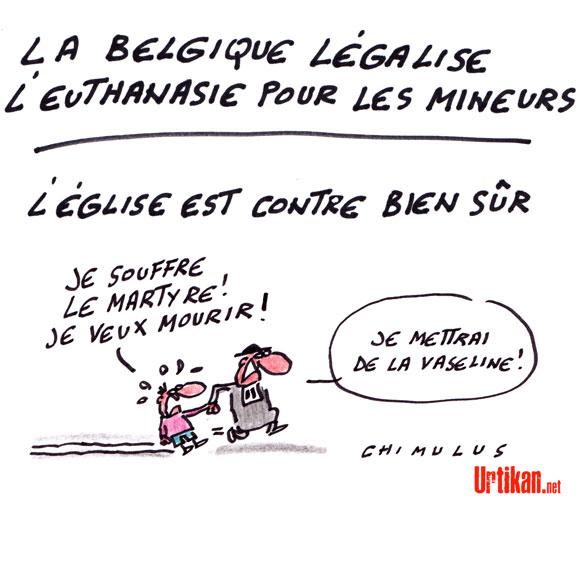 La Belgique autorise les mineurs à choisir l'euthanasie - Dessin de Chimulus