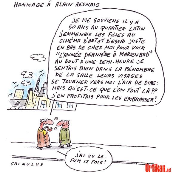 Le cinéaste Alain Resnais est mort - dessin de Chimulus