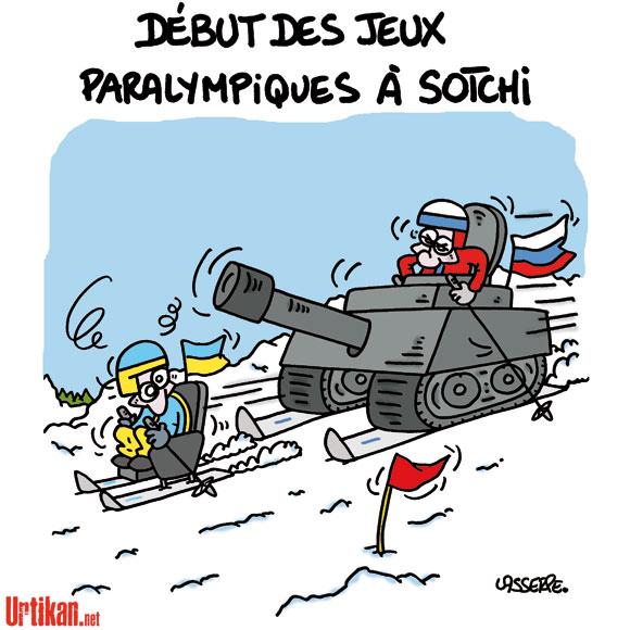 Sotchi : pas de ministre français aux Jeux paralympiques - Dessin de Lasserpe