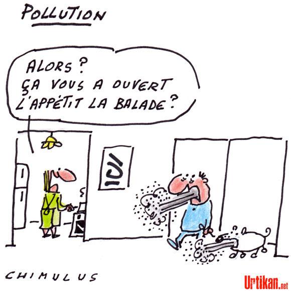 La pollution aux particules se poursuit, le seuil d'alerte dépassé - Dessin de Chimulus