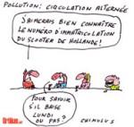 La circulation alternée sera appliquée lundi à Paris - Dessin de Chimulus