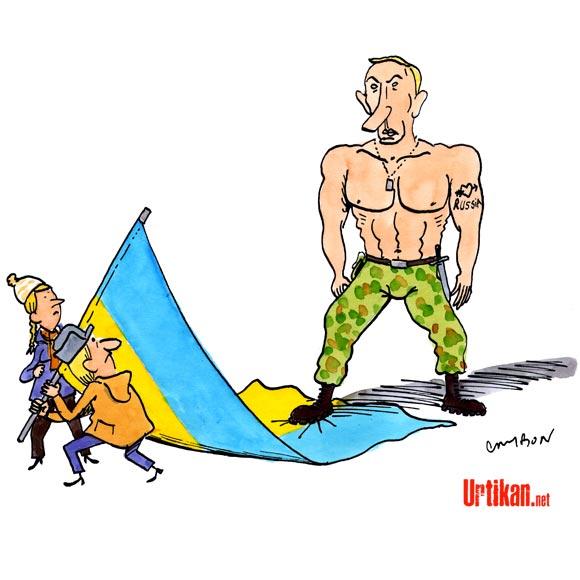 Vladimir Poutine signe le rattachement de la Crimée à la Russie - Dessin de Cambon