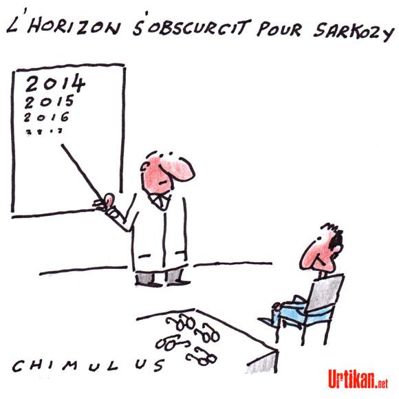 Ecoutes: l'horizon s'obscurcit pour Sarkozy, juge la presse - Dessin de Chimulus