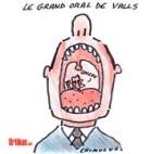 Grand oral : Valls dévoile son jeu - Dessin de Chimulus