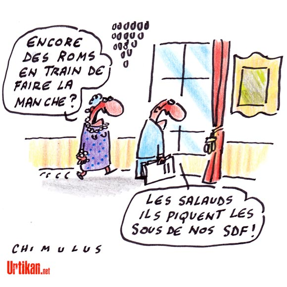 La note prônant « d'évincer » les Roms à Paris « rectifiée » par le gouvernement - Dessin de Chimulus