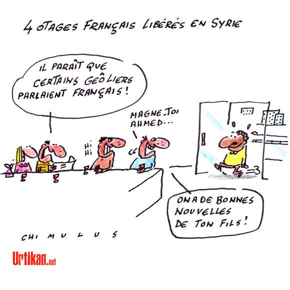 Les quatre otages français en Syrie sont libres - Dessin de Chimulus