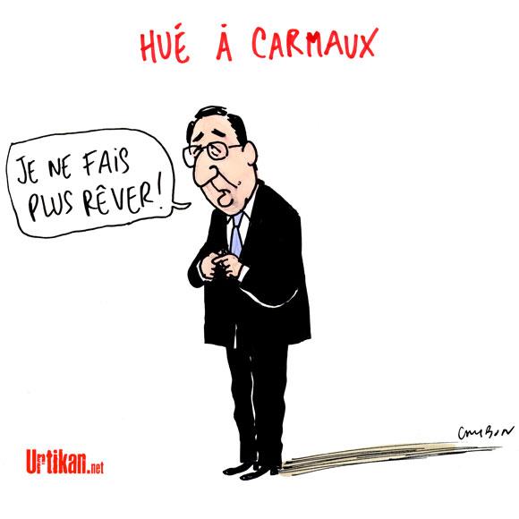 Hollande hué et sifflé chez Jaurès - Dessin de Cambon