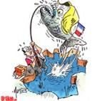Un pêcheur mordu par un piranha dans les Vosges - Dessin de Mutio