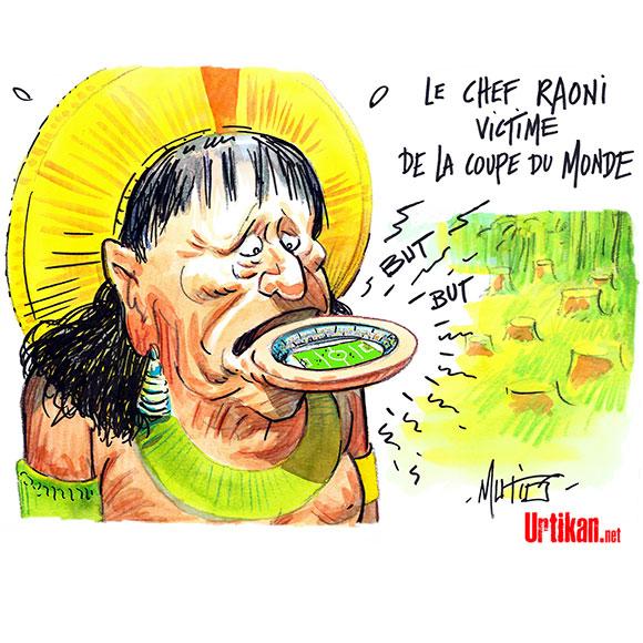 Le chef indien Raoni profite du Mondial pour parler de l'Amazonie - Dessin de Mutio