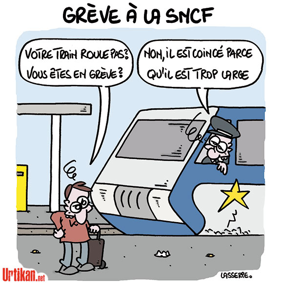 Mercredi noir pour les usagers de la SNCF - Dessin de Lasserpe