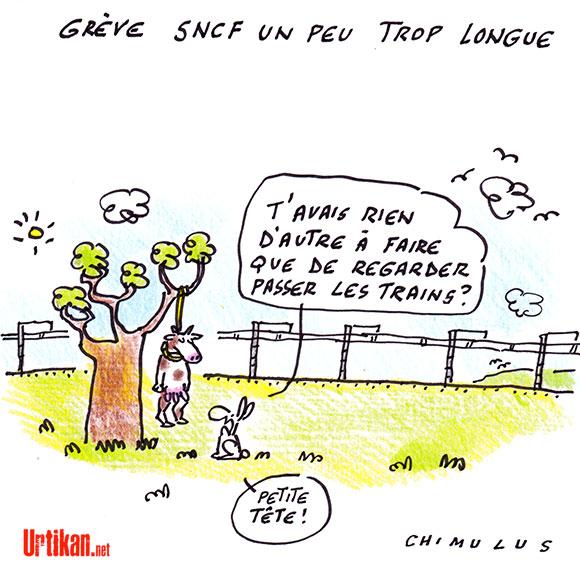 SNCF : 9e jour de grève - Dessin de Chimulus