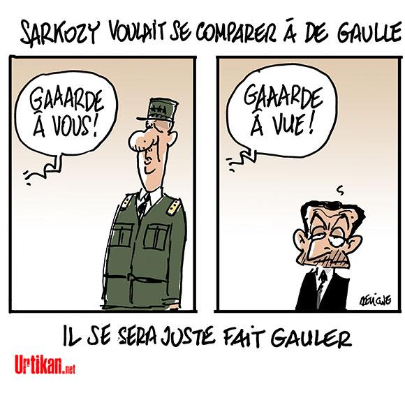 Nicolas Sarkozy en garde à vue - Dessin de Deligne