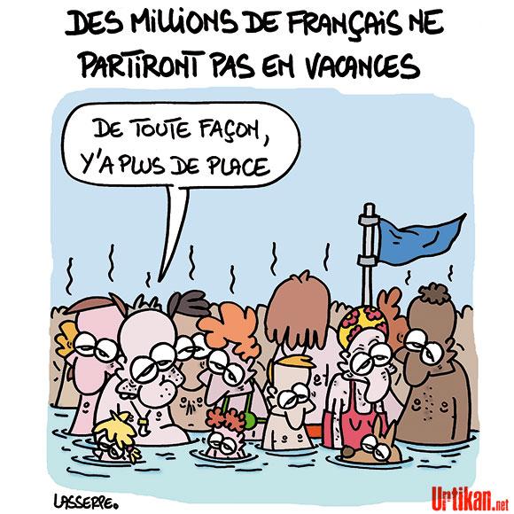 Vacances : 4 Français sur 10 ne partiront pas - Dessin de Lasserpe