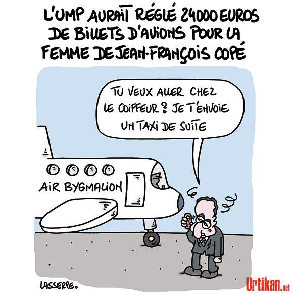 Copé «assume» les billets d'avion payés par l'UMP à sa femme - Dessin de Lasserpe