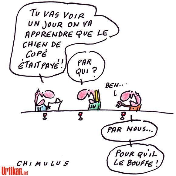 Jean-François Copé a fait embaucher sa femme par l'Assemblée nationale - Dessin de Chimulus